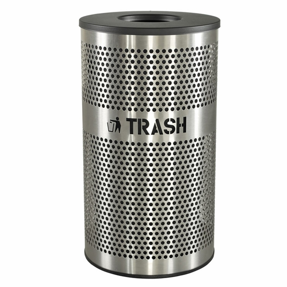 Stainless Steel Trash Receptacle - Garbage Can For Indoor Use, With Cut Out Letters