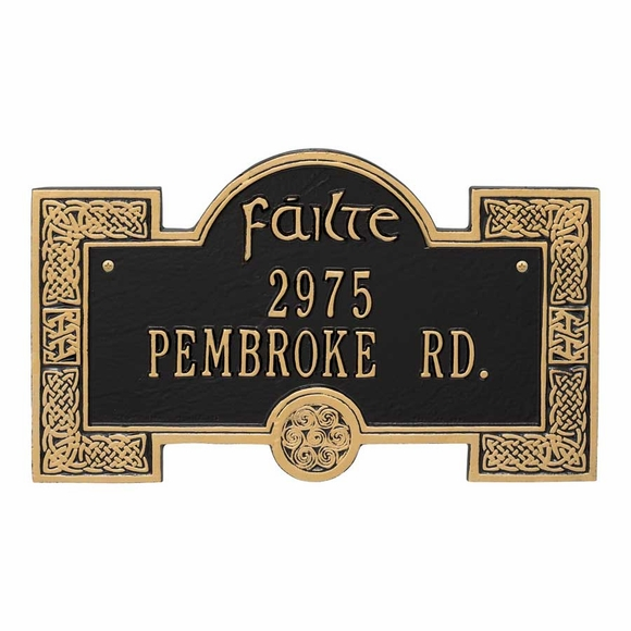 Failte Address Plaque with Celtic Knot Border - Irish House Number Sign