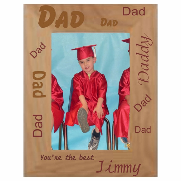 Custom Engraved Father's Day Gift Personalized Father's Day Picture Frame - Engraved Wood Photo Frame