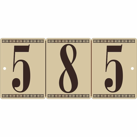 Faux Tile House Number Address Sign
