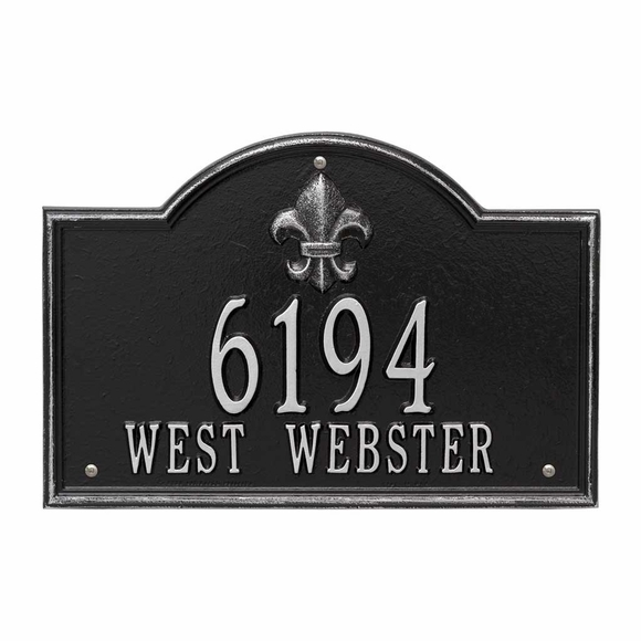 Address Sign With Fleur de Lis - Custom Metal Address Plaque