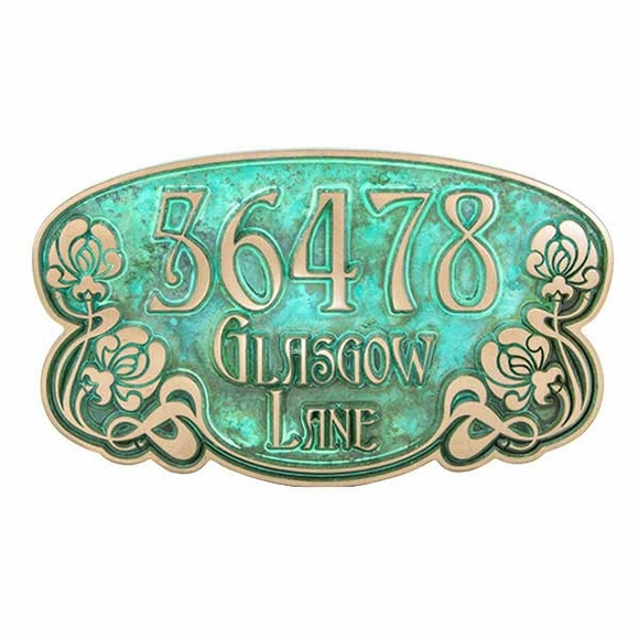 Floral Theme Oval Address Plaque with Roses