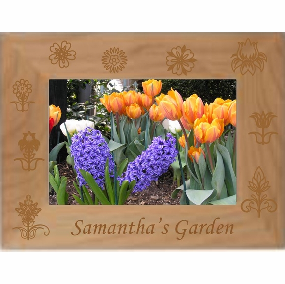 Custom Engraved Flower Garden Personalized Picture Frame for Gardeners