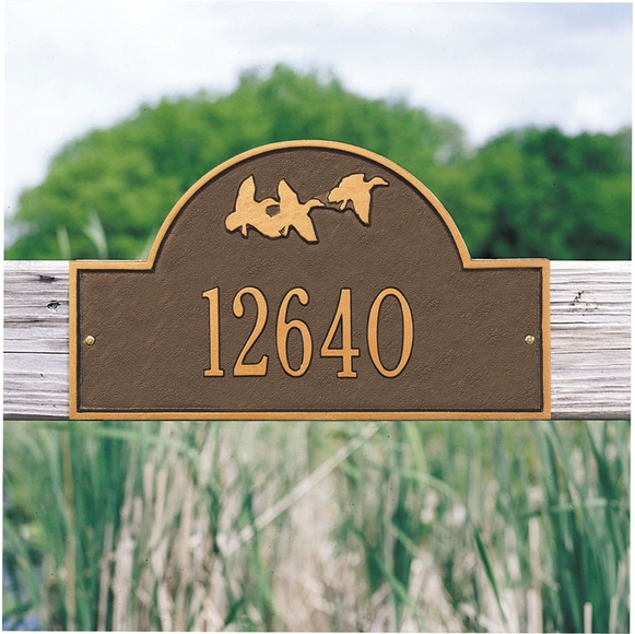 Personalized Address Plaque With Flying Ducks For Wall Mount or Optional Lawn Mount Stakes