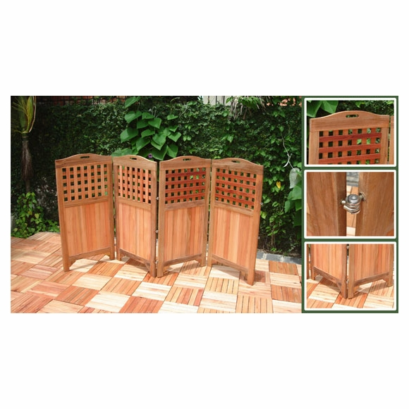 Folding Hardwood Privacy Screen