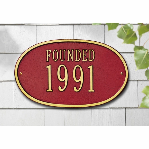 FOUNDED Year Sign - Custom Metal Date Plaque
