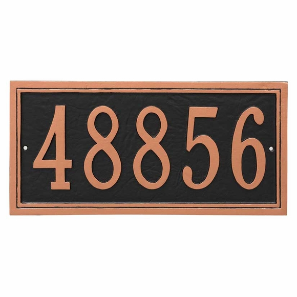 Rectangle Address Plaque With Large Numbers - For Wall or Lawn Stake Mount - Choose Your Color