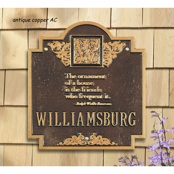 The ornament of a house is the friends who frequent it - Personalized House Plaque with Ralph Waldo Emerson quote