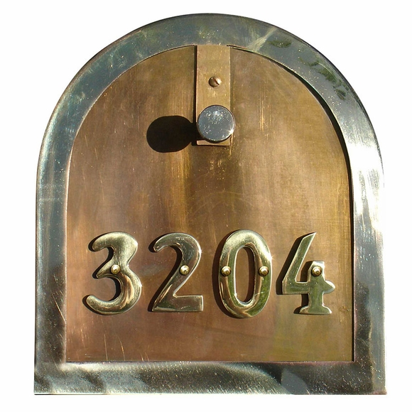 Gold Polished Brass Riveted House Numbers for Brass Rural Mailbox