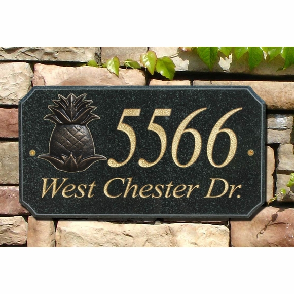 Granite Address Plaque with Pineapple Emblem
