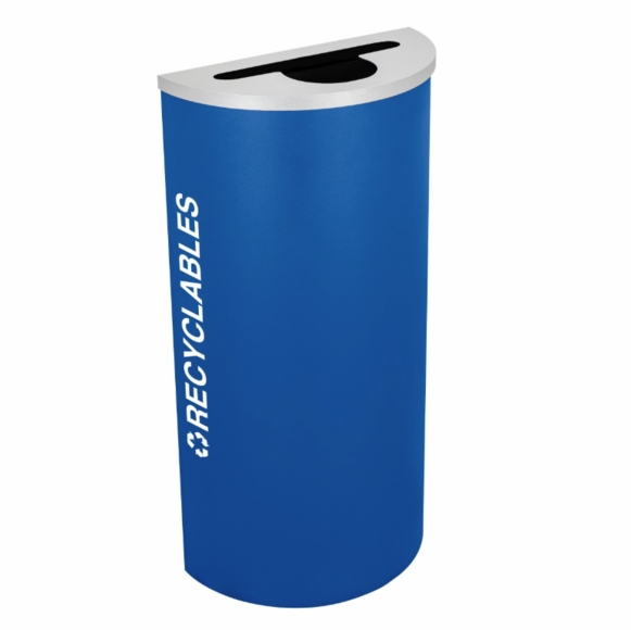 Half Round Recycling Container For Cans, Bottles, and Paper In Black, Emerald Green, Ruby Red, or Royal Blue