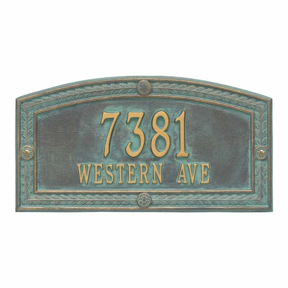Metal Address Plaque with Ornate Border For Wall or Optional Lawn Mount