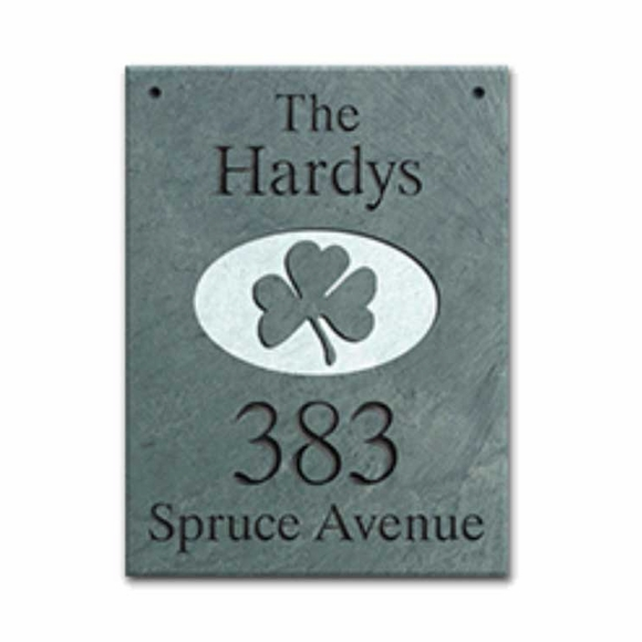 Hanging Slate Address Plaque with Shamrock