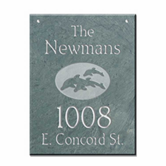 Hanging Slate Address Sign with Dolphins