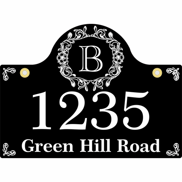 Hanging Address Sign With Monogram Initial