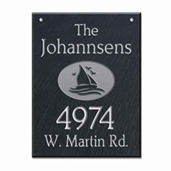 Hanging Slate Address Sign with Sailboat