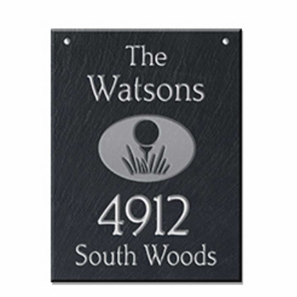 Hanging Slate Address Sign with Golf Ball