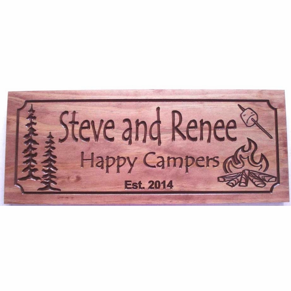 Happy Campers Plaque Carved Wood Plaque With Name and Date