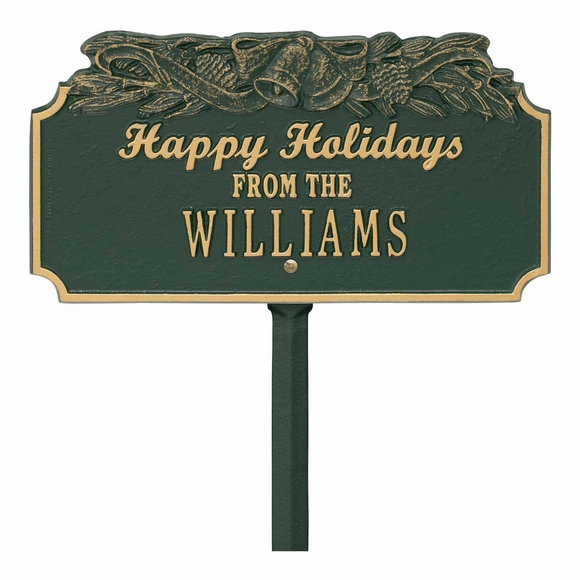 Happy Holidays Personalized Christmas Lawn Plaque with Bells