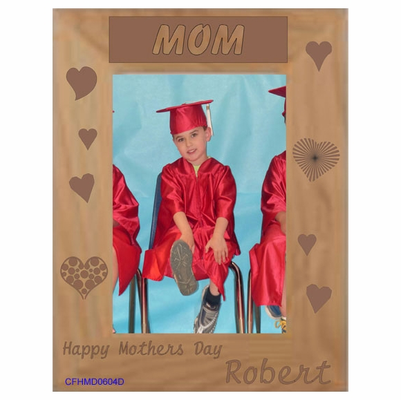 Happy Mother's Day Mom Personalized Picture Frame - Custom Engraved Wood Photo Frame