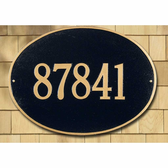 Oval Home Address Plaque For Wall Mount or Optional Lawn Stake Mount - Choose Your Color