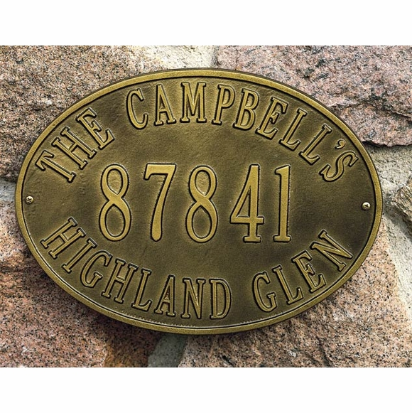 Oval Address Sign With Name, House Number, and Street - Wall Mount or Optional Lawn Mount