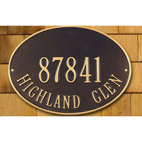 Aluminum Metal Oval Home Address Plaque For Wall or Optional Lawn Mount