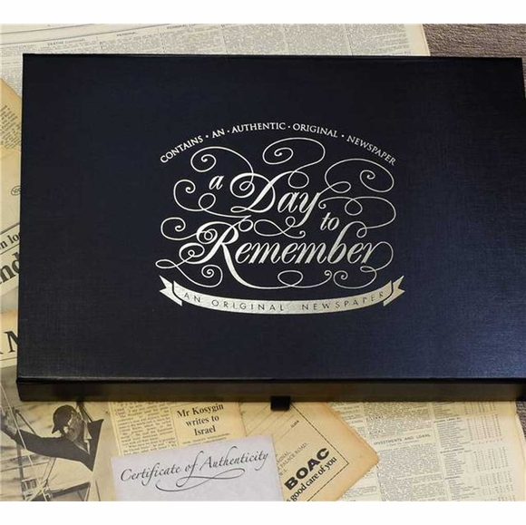 Historic Newspaper - Birthdate or Anniversary Original Newspaper In Luxury Keepsake Case