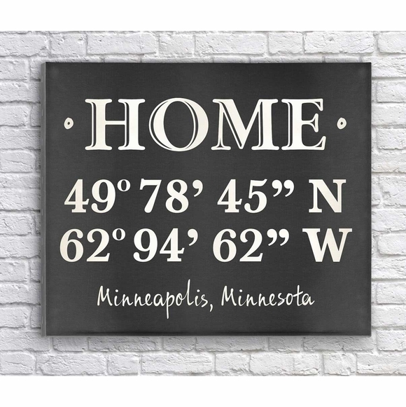 Home Address Coordinates Wall Art