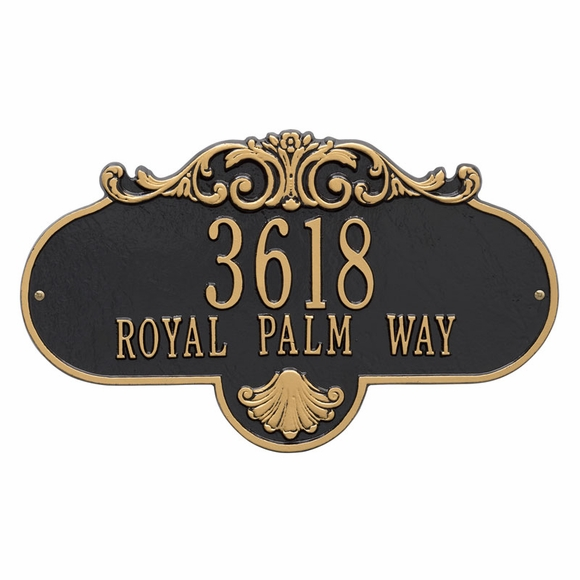 Home Address Sign - Unique Shape With Decorative Scroll Pattern