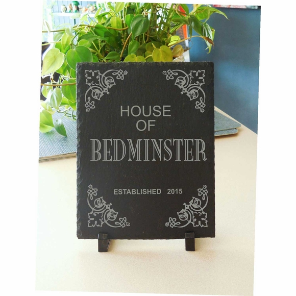 Personalized Slate Home or House Established Plaque for Tabletop Display