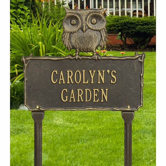 Owl Garden Plaque Personalized with Your Name