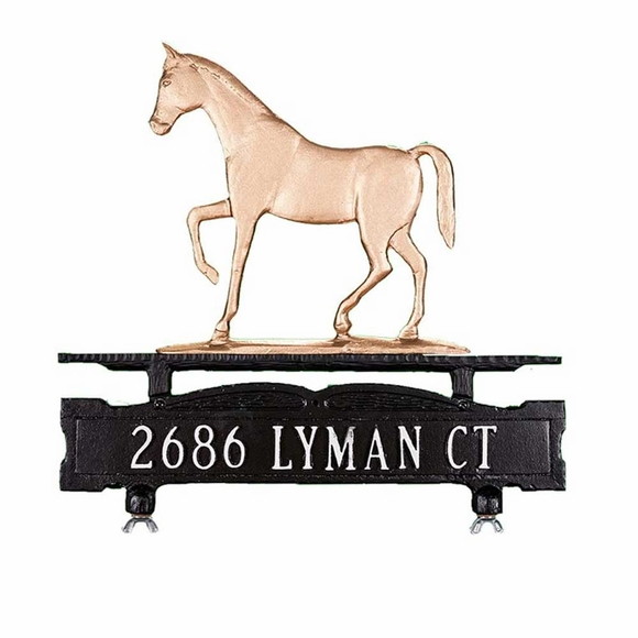Address Plaque With Horse Ornament On Top and Same Address On Both Sides For Lawn, Post, or Mailbox Top