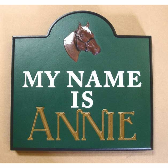 Custom Horse Stall Name Plaque, My Name Is With Brown Horse Head