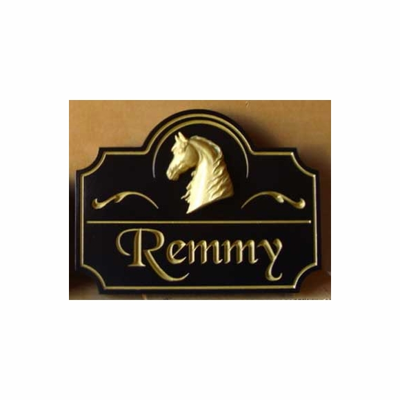 Horse Stall Name Plate with Gold Color Carved Horse Head