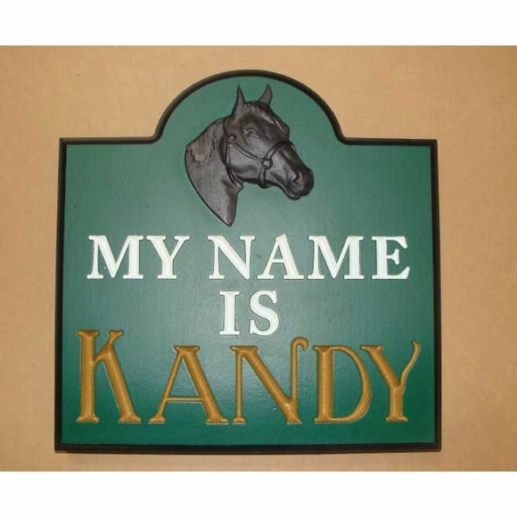 Horse My Name Is Stall Sign with 3D Horse Head