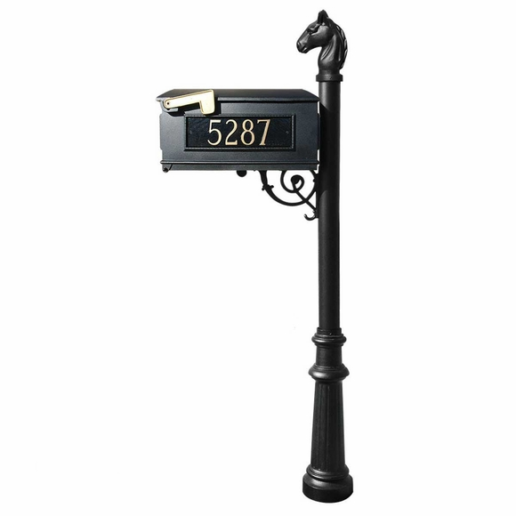Horsehead Post Curbside Mailbox With Address Number Plates