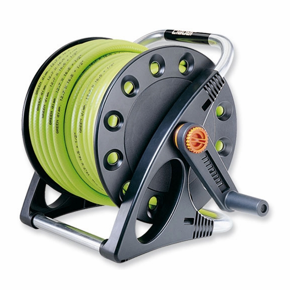 Hose Reel With Hose, Nozzle, and Connections