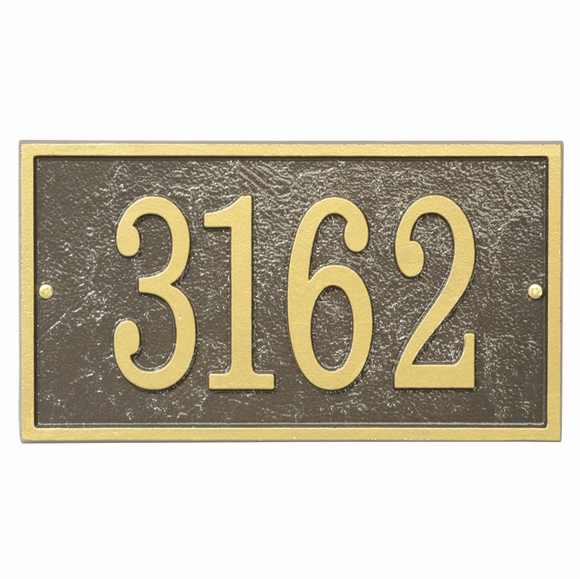 House Number Plaque - Custom Architectural Home Address Sign, Rectangle, Bronze With Gold