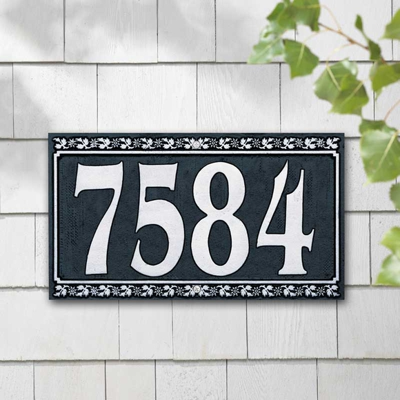 House Address Plaque with Flower Border And Big Numbers