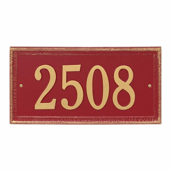House Number Plaque with Antiqued Style Rubbed Border