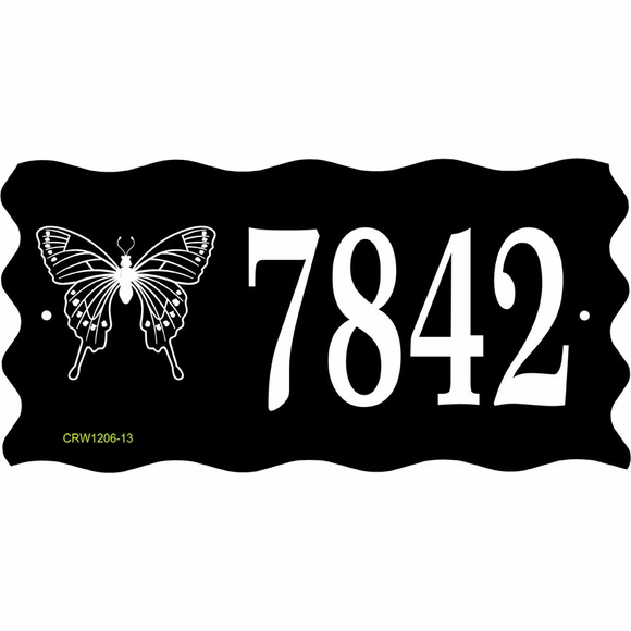 House Number Sign with Butterfly or Insect Logo
