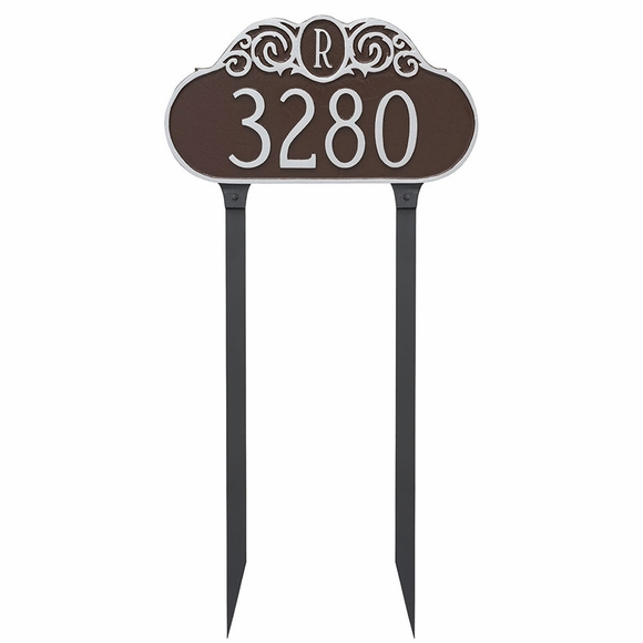 Lawn Mounted House Number Street Sign With Monogrammed Initial - Yard Address Plaque