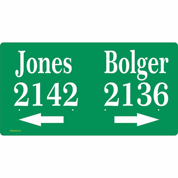 House Number Sign To Display Two Addresses With Arrows - Multi Unit Address Plaque