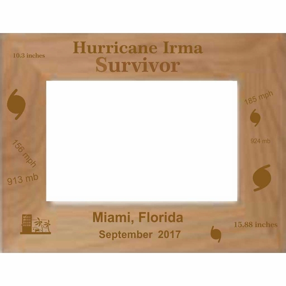 Hurricane Irma Survivor Custom Engraved & Personalized Picture Frame