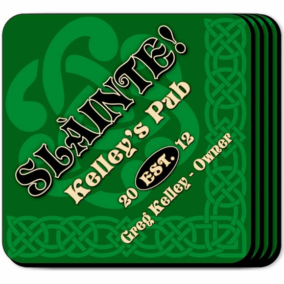 Irish Theme Slainte Personalized Coasters