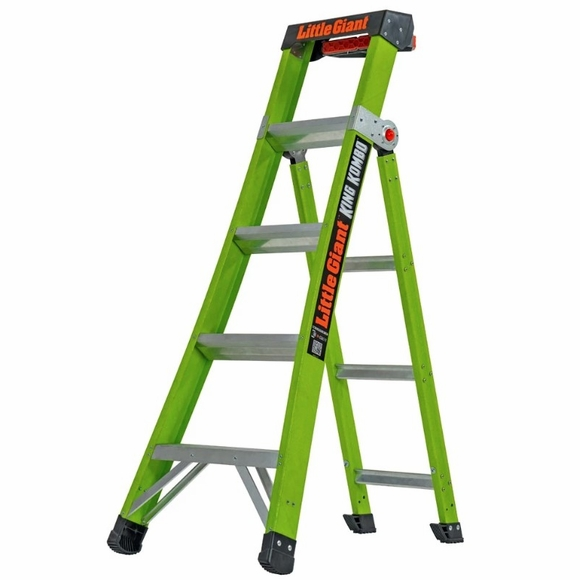 King Kombo Professional Ladder 5' - Combination Stepladder, Leaning and Extension Ladder