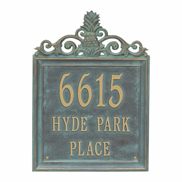 Pineapple Address Plaque For Wall or Optional Lawn Mount