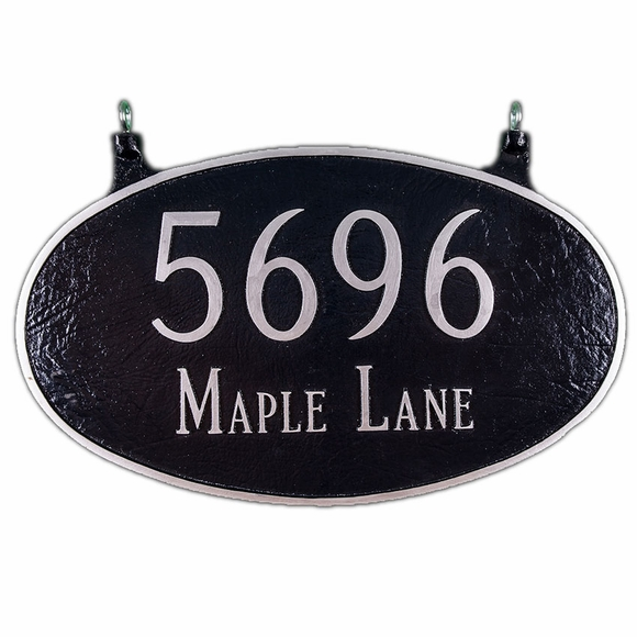 Large 2 Sided Hanging Oval Address Sign Displays Your House Number and Street Name