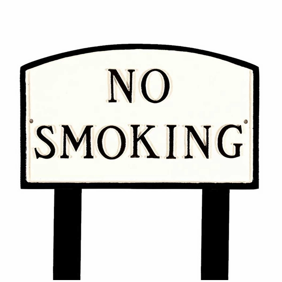 No Smoking Sign - Large Metal Sign For Wall or Lawn Stake Mount